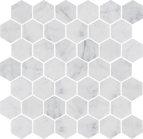 U Hexagon Medium Carrara Honed