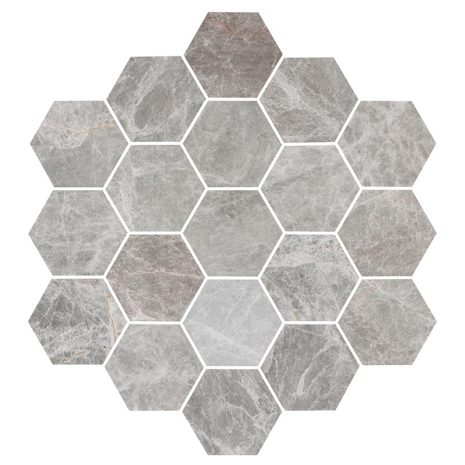 Hexagon Grey Large Marble Honed